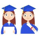 set Ein Absolvent mit einem Diplom Lizenzfreies Stockfoto