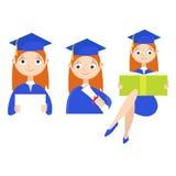 set Ein Absolvent mit einem Diplom Lizenzfreie Stockbilder