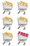 Set Einkaufswagen mit Rabatt. Lizenzfreie Stockbilder