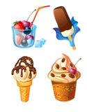 Set Eiscreme mit Früchten Stockfotografie