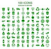 Set 100 ekologii ikon - akcyjny wektor ilustracja wektor