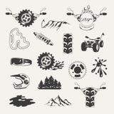 Set ekstremum bawi się emblematy, odznaki, etykietki ilustracji
