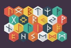 Set of Elder Futhark runes in trend flat style. Stock Images
