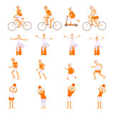 Set Elderly people doing exercises. In different poses. Healthy active lifestyle retiree. Sport for grandparents, elder fitness, yoga for Seniors isolated on Royalty Free Stock Photos