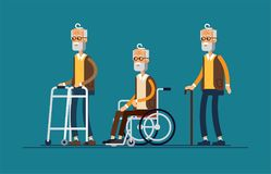 Set of elderly persons. Grandfather in a wheelchair Royalty Free Stock Image