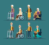 Set of elderly persons. Grandfathers and granfathers in a wheelchair and with walking stick and paddle walker. Vector Royalty Free Stock Photography