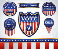 Set of Election and Voting Badges and Labels. An illustrated set of American election and voting badges, icons, and emblems. Vector EPS 10 available. EPS Stock Image