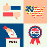 Set for elections 2. Set of traditional national elements for USA election 2016. Map of America with online geo tags, national flag and ribbon sign, hands with Vector Illustration