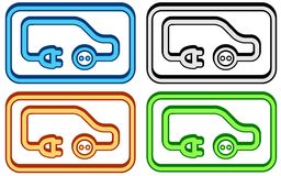 Set electric car icon Royalty Free Stock Images
