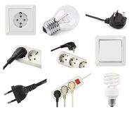 Set of electric equipment Stock Images
