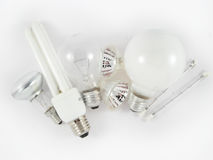 Set of electric light bulbs Stock Photos