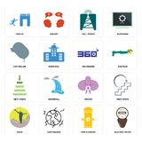 Set of electric meter, fire hydrant, hiker, orchid, next steps, 360 degree, car dealer, cell tower, join us icons. Set Of 16 simple  icons such as electric meter Royalty Free Stock Photo