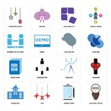 Set of electric meter, order form, municipal, telecom, book now, car dealer, number players, adaptability, christmas bulb icons. Set Of 16 simple  icons such as Stock Photo