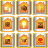 Set of electric objects. With house and metal button Stock Images