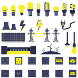 Set of Electric Power Energy Vectors and Icons. Set of Many Electric Power Energy Vectors and Icons Stock Photo