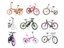 Set of electric, urban, cruiser, MTB and folding bikes isolated Royalty Free Stock Image