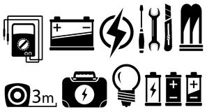 Set electrical objects. Set of black isolated electrical objects and tools Stock Photography