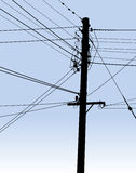 Set of electrical power lines and telegraph wires. Stock Photo