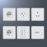 Set of electrical socket different contries Stock Image