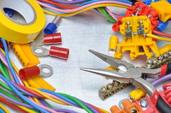 Set of electrical tools and cables Royalty Free Stock Images