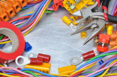 Set of electrical tools and cables Stock Photo