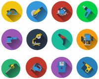 Set of electrical work tools icons Royalty Free Stock Images