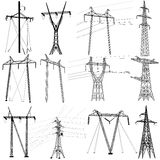 Set electricity transmission power lines. Vector Stock Image