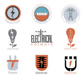 Set Electricity vector logo, label. Stock Images