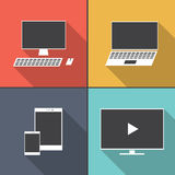 Set of electronic device  flat icons with long shadow Stock Photo