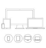 Set of electronic device outline icons Stock Images