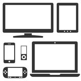 Set of electronic devices with a blank display. Stock Photography