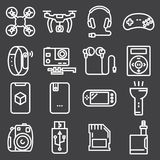 Set of electronic devices. On gray background Royalty Free Stock Images