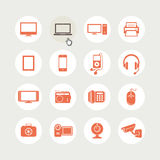 Set of electronic devices icons Royalty Free Stock Images
