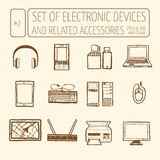 Set of electronic devices Royalty Free Stock Image