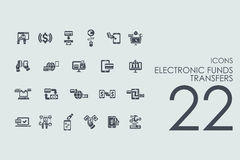 Set of electronic funds transfers icons Stock Image