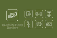 Set of electronic funds transfers simple icons Royalty Free Stock Photo