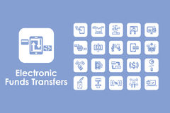 Set of electronic funds transfers simple icons Royalty Free Stock Photos