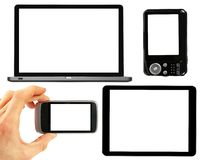 Set of electronic gadgets with blank screens Stock Photos