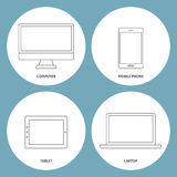 Set of electronic outline icons Stock Photos