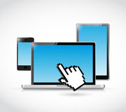Set of electronics and cursor hand illustration Stock Photo