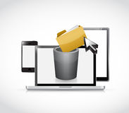 set of electronics and trash bin for content Royalty Free Stock Photos