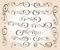 Set eleganccy dekoracyjni ślimacznica elementy również zwrócić corel ilustracji wektora ilustracji