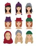 Set eleganccy kobieta charaktery w zima kapeluszach Royalty Ilustracja