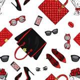 Set eleganccy kobiety ` s akcesoria Wektorowa ilustracja dla plakata lub karty Druk na odziewa Moda & styl Tło royalty ilustracja