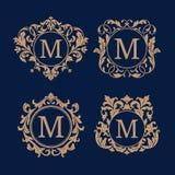 Set eleganccy kwieciści monogramy Zdjęcia Royalty Free