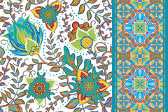 Set of elegance seamless pattern with floral Royalty Free Stock Photos