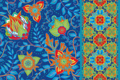 Set of elegance seamless pattern with floral Royalty Free Stock Image