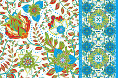 Set of elegance seamless pattern with floral, seamless border Stock Images