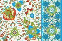 Set elegancja bezszwowy wzór z kwiecistą, bezszwową granicą, ilustracji