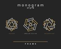 Set elegancki monogram dekoracyjnego projekta emblemata graficzny ilustracyjny wektor Zdjęcia Stock